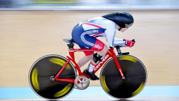Megan Giglia track cycling with carbon fibre ankle foot orthoses