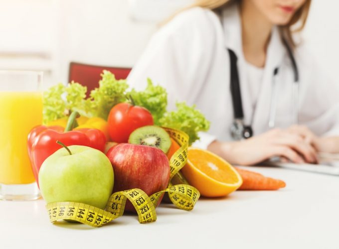 healthy food on table with dietician